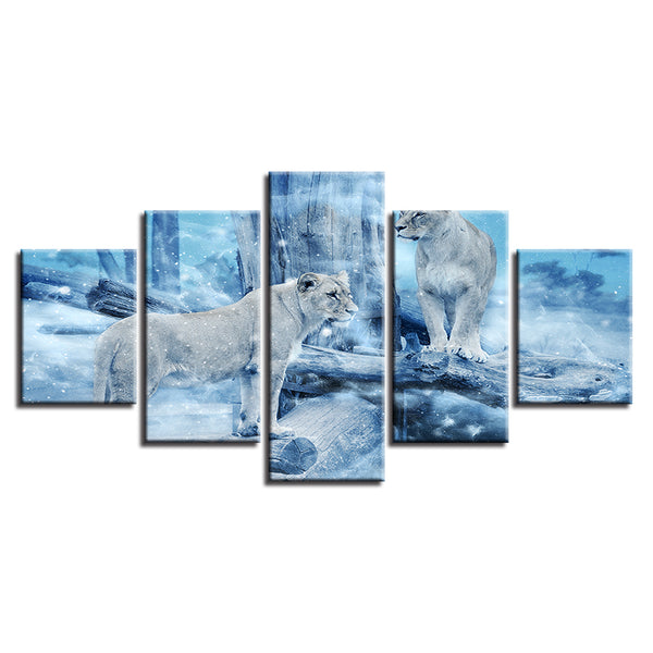 Modern Print Painting Home Decoration Canvas 5 Panel Animal Lion Framed Abstract Wall Art For Living Room Modular Picture