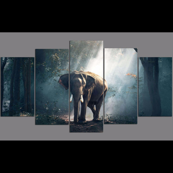 Modular Posters Canvas Living Room Home Decor 5 Piece/Pcs Forest Elephant Frame HD Printed Modern Pictures Painting Wall Art