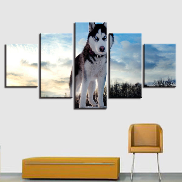 HD Print Canvas Modular Framework Wall Art Painting Popular 5 Panel Blue Sky Landscape Animal Wolves Picture For Living Room