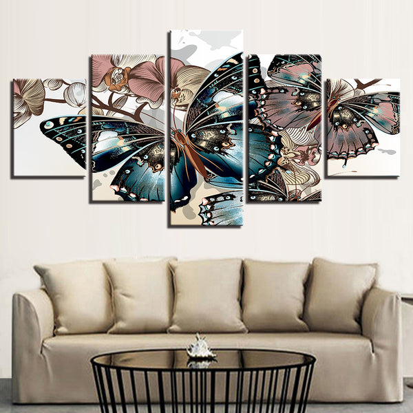 Modular Pictures Framework Poster Painting Children'S Room Decoration Photo Popular 5 Panel Beautiful Butterflies Canvas Print