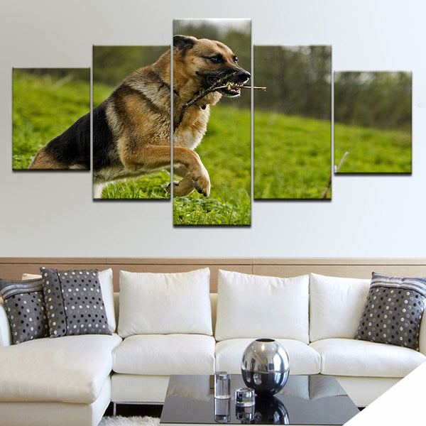 Framework HD Printed Modern Wall Art Painting Canvas 5 Panel Shepherd Dog Animal Home Decoration Living Room Modular Pictures