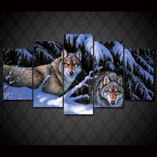 Canvas HD Print Painting Modular Home Decor Pictures 5 Panel Snow Mountain Wolves Framework Wall Art Poster Modern Living Room