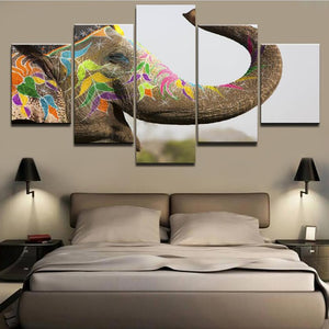 HD Printed Home Decoration Posters Painting 5 Piece/Pcs Color Elephant Animal Modern Wall Art Pictures Framework Living Room