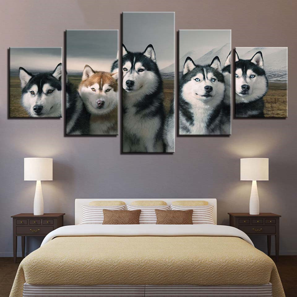 HD Printed Modern Painting On Canvas 5 Panel Dogs Animal Modular Picture Wall Art Home Decoration Posters Frame Living Room