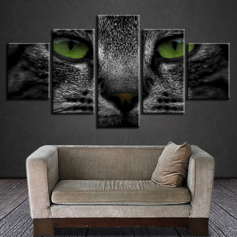 Decoration Home Art Canvas Pictures Prints 5 Panel Animal Black Cat Poster Wall For Living Room Modular Frame Painting