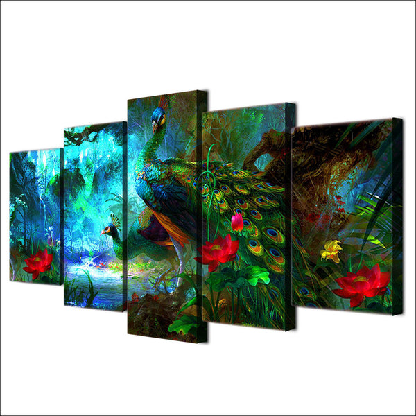 Decor Posters Frame Living Room HD Printed 5 Panel Beautiful Peacock Forest Landscape Modern Wall Art Pictures Home Painting
