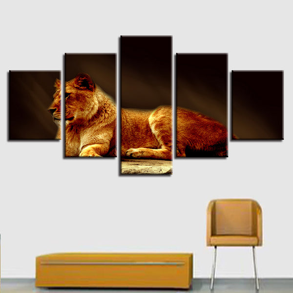 Printed Modular Picture Large Canvas 5 Panel Animal Tiger Framework Painting For Bedroom Living Room Home Wall Art Decor