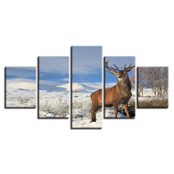 Decoration Painting Framework Picture Modern 5 Panel Animal Deer HD Printed Wedding For Living Room High Quanlity Canvas