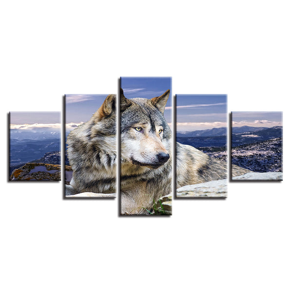 Painting Home Decor For Living Room Art Poster Framework 5 Panel Animal Wolf Landscape Printed On Canvas Wall Modular Picture