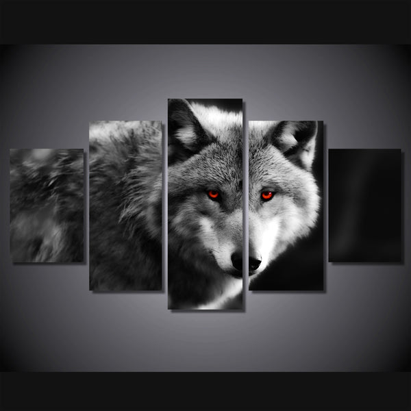 HD Printed Modern Canvas Living Room Pictures Painting 5 Piece/Pcs Wolf Red Eyes Framework Wall Art Modular Poster Home Decor