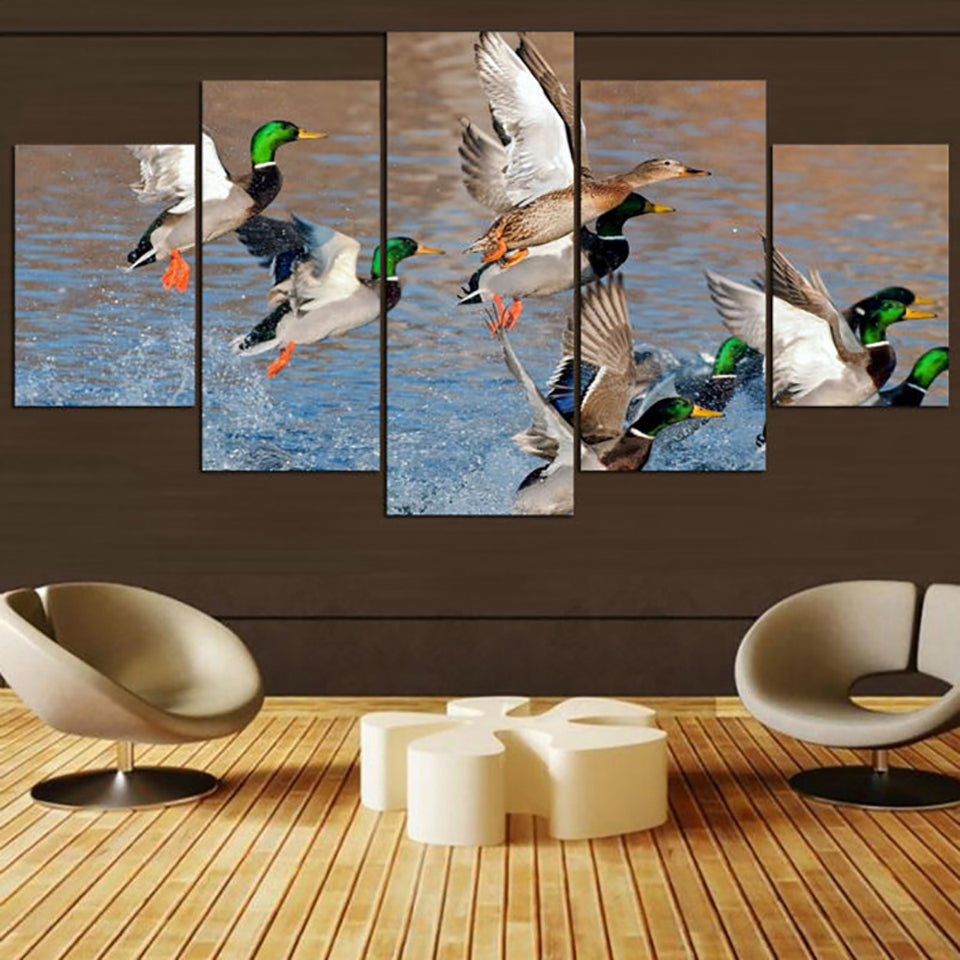 HD Frame Home Decor Canvas Painting Poster 5 Panel Animal Duck Hunting Landscape Modern Wall Art Living Room Printed Pictures