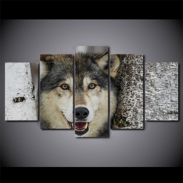 Modern Painting On Canvas HD Printed 5 Panel Gray Wolf Modular Picture Wall Art Home Decoration Posters Framework Living Room