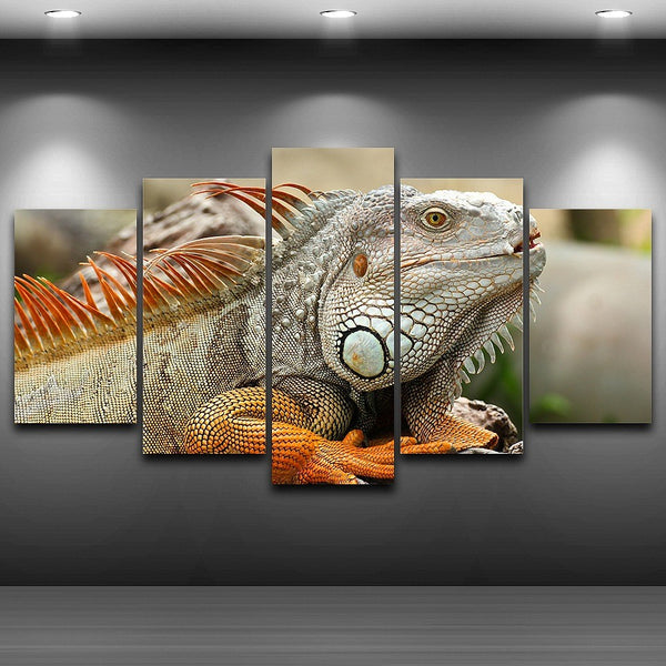 Wall Art Modular Pictures Painting Poster Home Decor 5 Piece/Pcs Chameleon Animal Frame HD Printed Modern Canvas Living Room