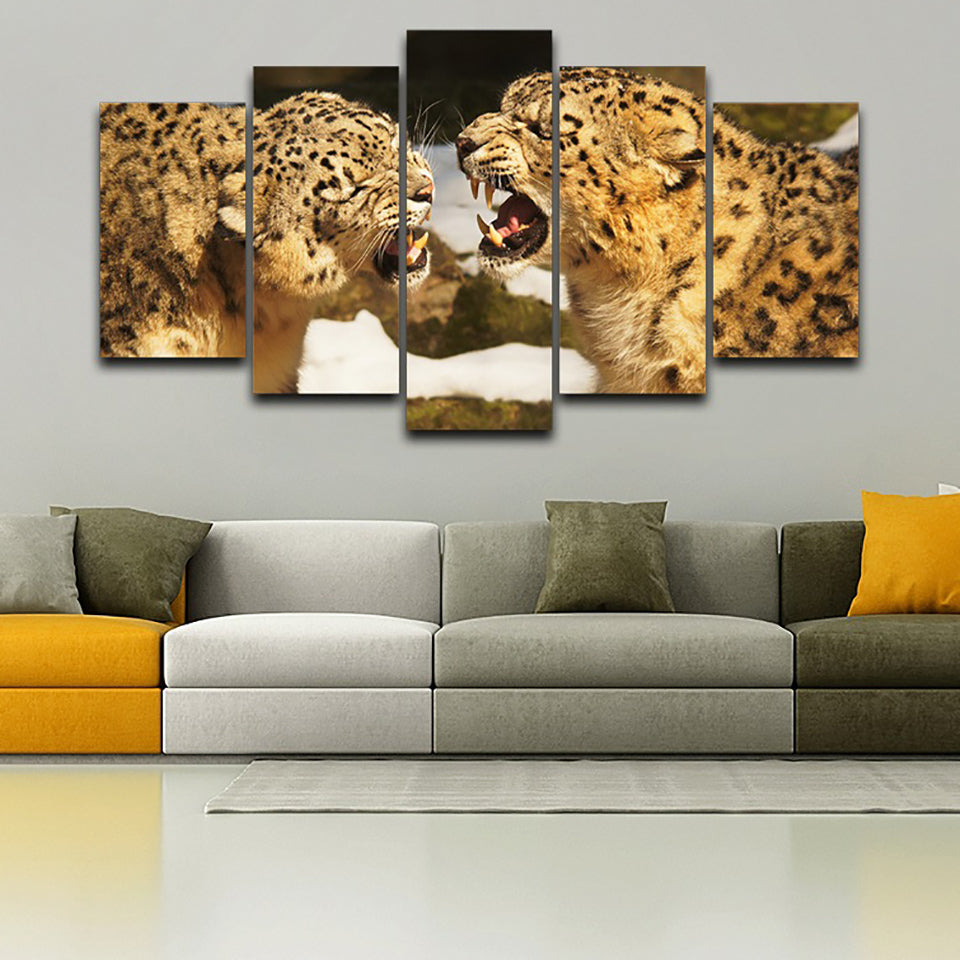 Decor Printed Pictures Painting Wall Art Modular 5 Piece/Pcs Leopards Fight Modern Canvas Living Room Framework HD Home Poster