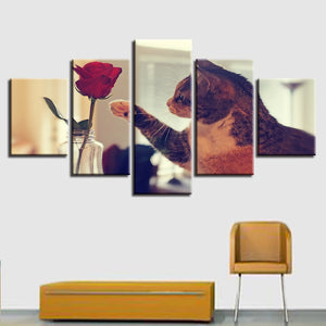 Large Poster HD Printed Painting Canvas Home Decor Wall Art 5 Panel Animal Cats Play With Rose Modular Pictures For Living Room