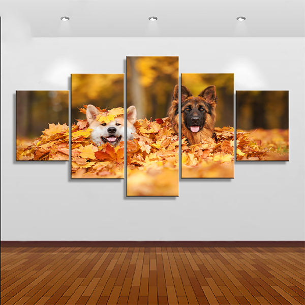HD Printed Pictures Home Decor Modern Canvas 5 Panel Animal Dogs And Leaf Painting Wall Art Modular Poster Frame Living Room