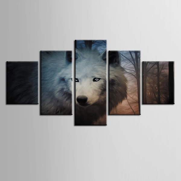 Picture On Canvas HD Printed Frame Wall Art Living Room 5 Panel Wild White Wolf Modular Home Decoration Posters Modern Painting