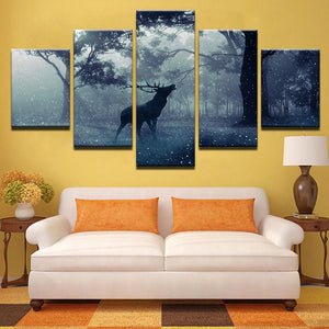 Tableau Home Decor Wall Artwork Pictures Canvas 5 Panel Snow Forest Deer Night View Modern HD Printed Paintings Modular Poster