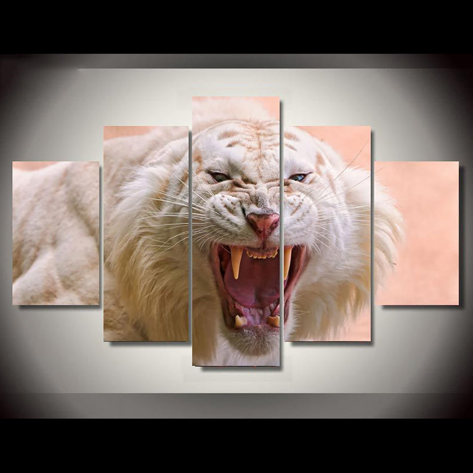 Decoration Posters Frame Living Room Wall Art 5 Panel White Tiger Landscape Modern Painting On Canvas Home Pictures HD Printed
