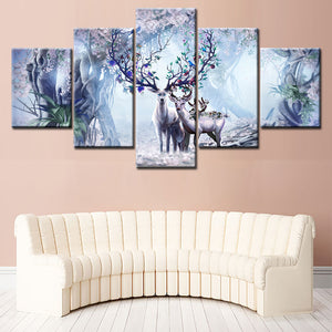 Home Decor Living Room Modular Pictures 5 Piece/Pcs Deer In The Wild Land Framework Wall Art Painting HD Printed Canvas Poster