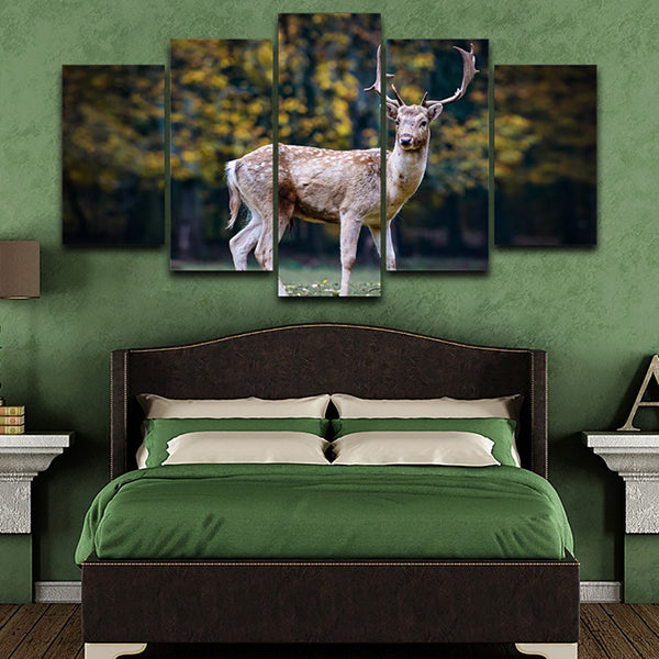 Living Room Wall Art Pictures On Canvas HD Printed 5 Piece/Pcs Sika Deer Animal Modern Painting Home Decoration Posters Frame