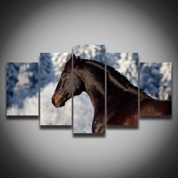 Canvas Painting Wall Art Modular Poster Frame 5 Piece/Pcs Black Brown Horse HD Printed Modern Pictures Home Decor Living Room