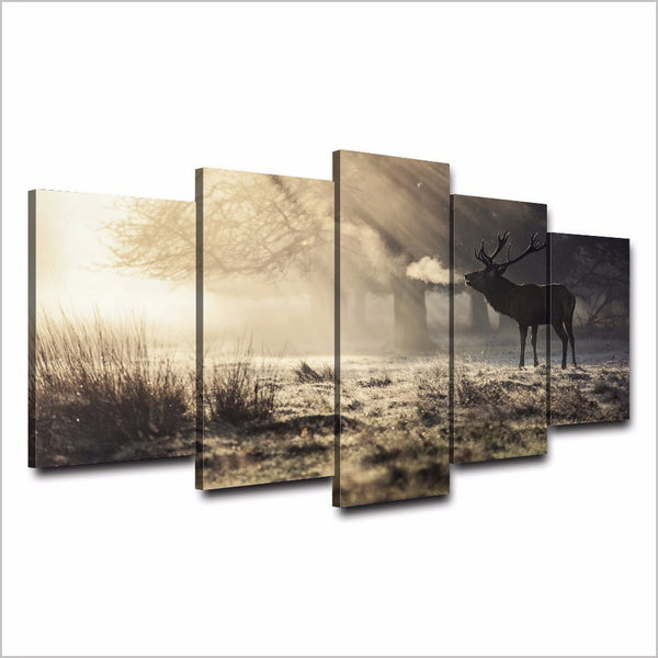 Art Painting Framework Home Decor Canvas Poster 5 Piece/Pcs Forest Deer Landscape Modular HD Printed Wall Pictures Living Room