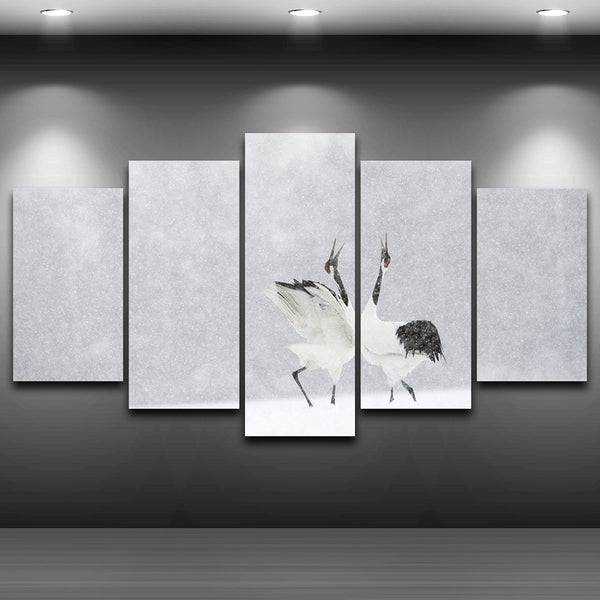 HD Printed Home Decoration Poster Framework Painting 5 Panel Cranes Snow Nature Landscape Modern Wall Art Pictures Living Room