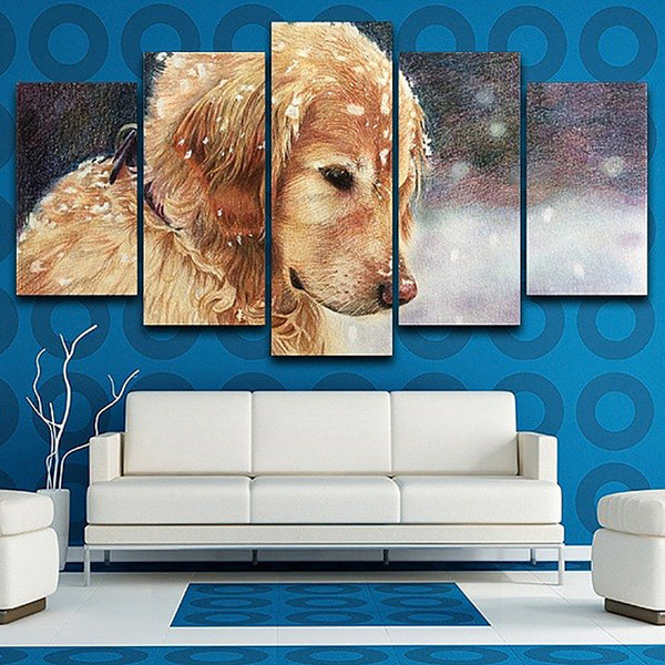 Living Room HD Printed Modern On Canvas Painting 5 Panel Lovely Dog Modular Decoration Poster Picture Wall Art Home Framework