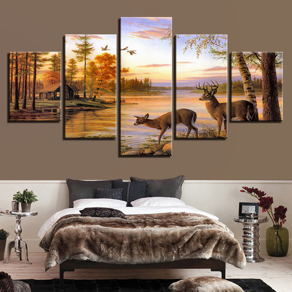 Frame Living Room Modern Wall Art Pictures 5 Piece/Pcs Deer Nature Dusk Landscape Home Decoration Posters HD Printed Painting