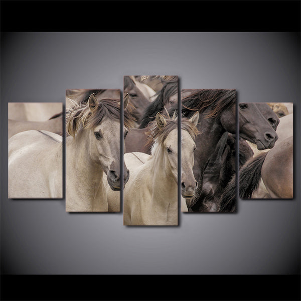 Printed Pictures Painting Wall Art Modular Poster 5 Panel Wild Animal Horses Modern Canvas Living Room Framework HD Home Decor