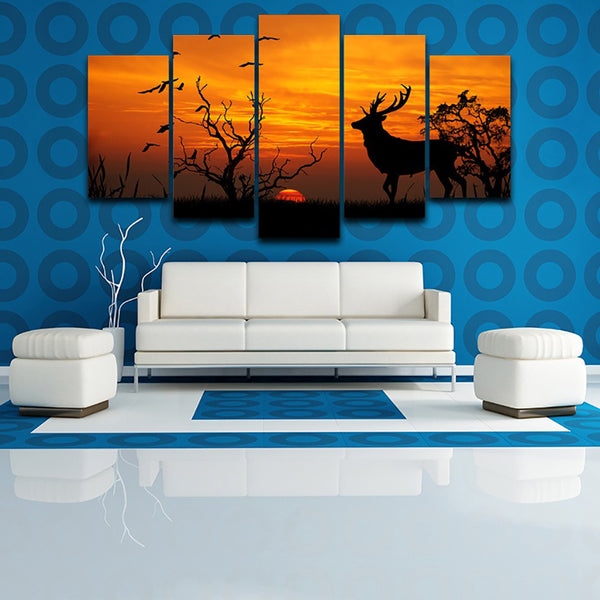 Decoration Poster HD Printed Painting Frame 5 Piece/Pcs Deer Nature Sunset Landscape Modern Wall Art Pictures Home Living Room