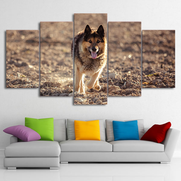 Living Room Wall Art Pictures HD Printed 5 Panel Wild Wolf Running Modern Painting On Canvas Home Decoration Posters Framework