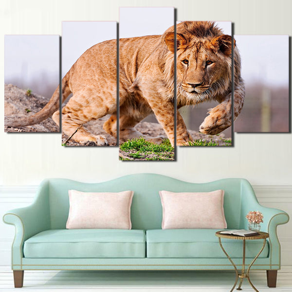 Pictures Home Decor Wall Art Living Room 5 Panel African Lion Animal HD Printed Modern Canvas Painting Modular Poster Frame
