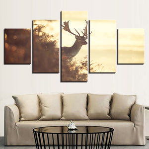 Modern HD Printed For Living Room Pictures 5 Panel Deer Dusk Landscape Wall Art Home Decor Framework Canvas Painting Posters