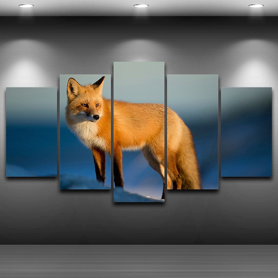 Wall Art Pictures HD Printed Home Decoration Posters 5 Panel Fox Animal Sunshine Modern Painting On Canvas Frame Living Room