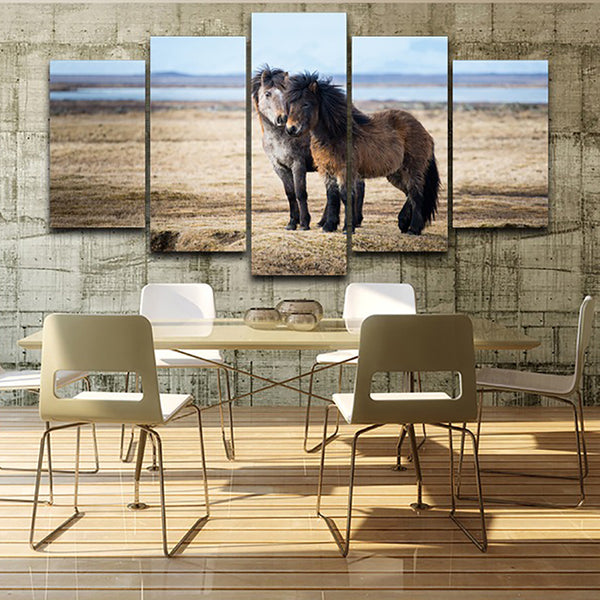 Home Frame On Canvas Living Room HD Printed Modern 5 Panel Horses Animal Modular Decoration Posters Picture Wall Art Painting