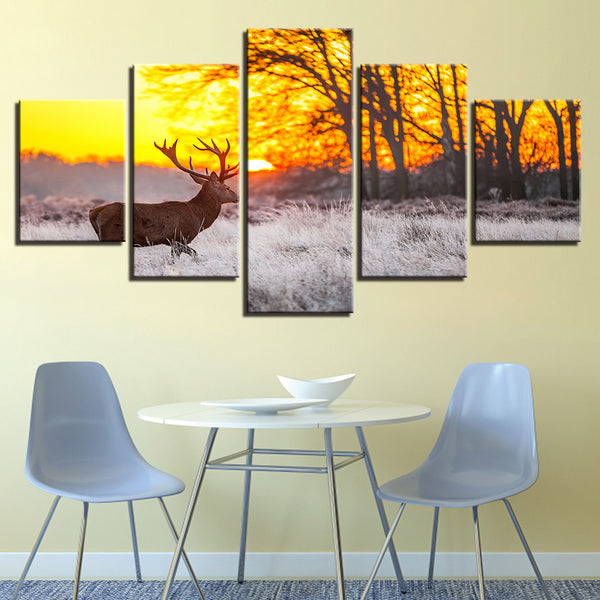 Canvas Paintings Tableau Wall Art HD Printed Pictures 5 Panel Forest Deer Sunrise Landscape Home Decor Modern Modular Posters