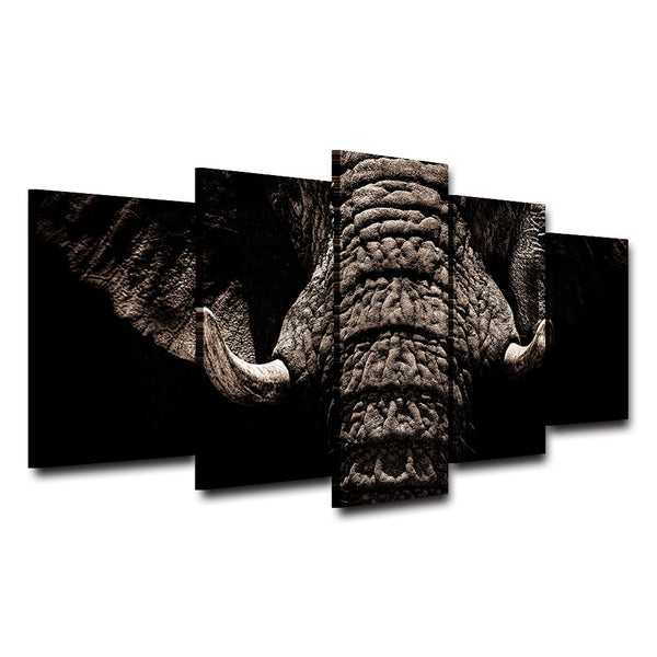 Posters Frame Living Room HD Printed Home Decoration 5 Panel Elephant Animal Modular Picture Wall Art Modern Painting On Canvas