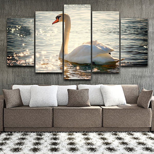 Art Painting HD Printed Canvas Poster Home Decor 5 Panel Lake Swan Sunshine Landscape Framed Wall Living Room Modular Pictures