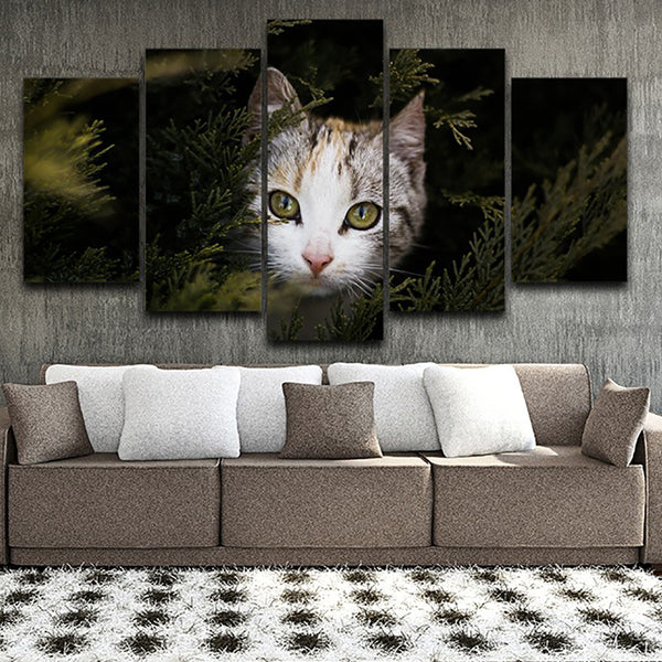Modular Posters Home Decor Living Room Pictures 5 Panel Cute Animal Cat Framework HD Printed Modern Canvas Painting Wall Art