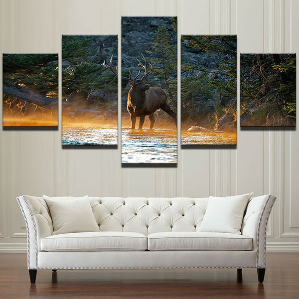 Home Decor Posters Wall Art Frame Modern Painting On Canvas 5 Piece/Pcs Animal Elk Deer Modular HD Printed Picture Living Room
