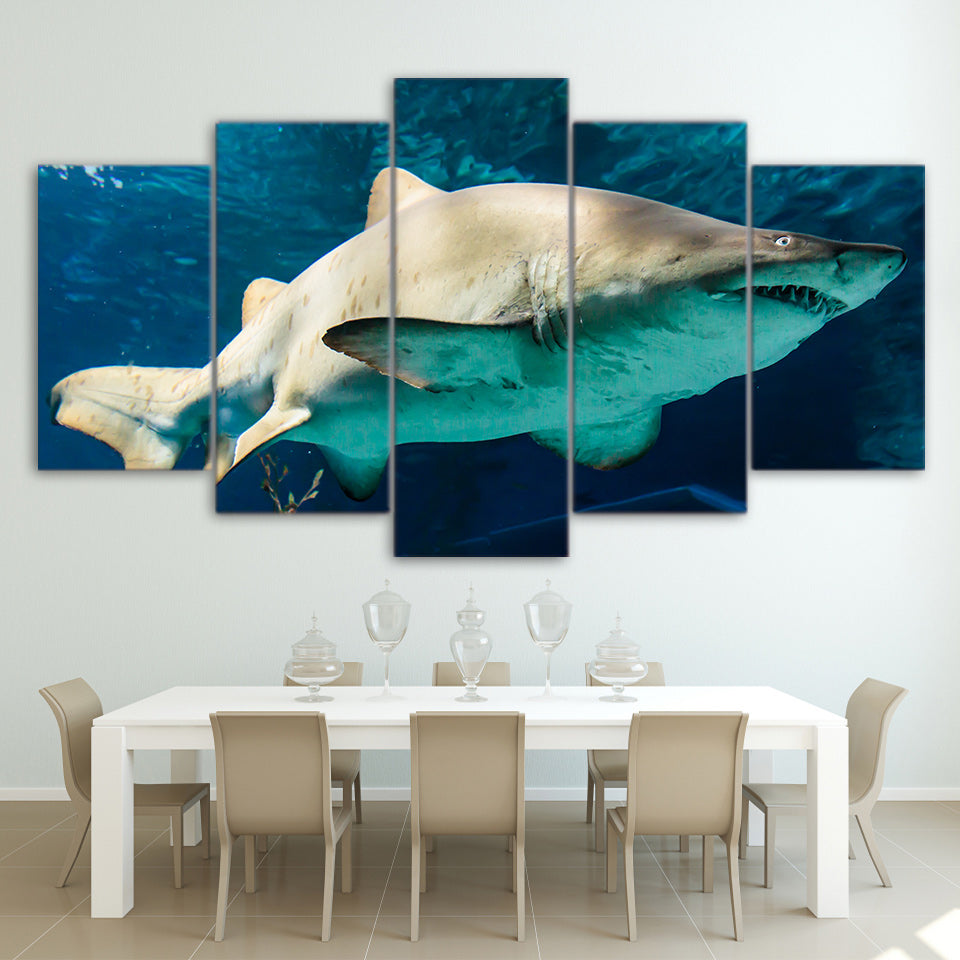 Framed HD Printed Wall Art Painting Modern Canvas 5 Piece/Pcs Blue Ocean White Shark Home Decor Living Room Modular Pictures