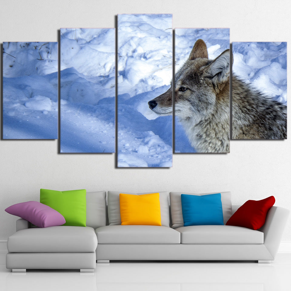 Home Decoration Posters Frame Living Room Wall Art 5 Panel Snow Wolf Landscape Modern Painting On Canvas Pictures HD Printed