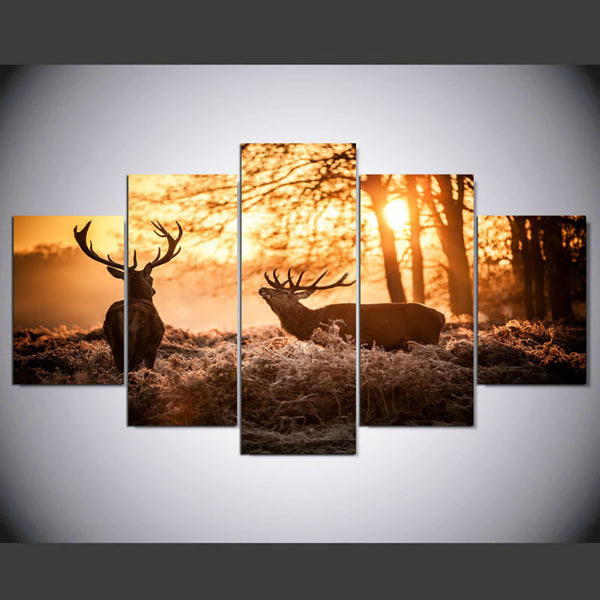 Home Decor HD Print Pictures Canvas Painting Modular 5 Panel Forest Deer Wall Art Sunrise View Frame Poster Modern Living Room