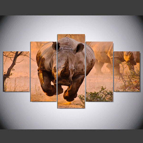 HD Printed Pictures Poster For Living Room 5 Panel Rhinoceros Head Animal Wall Art Home Decor Framework Modern Canvas Painting