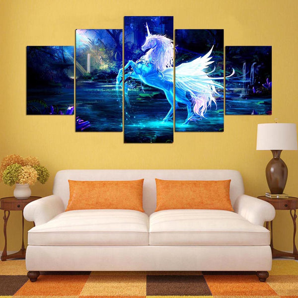 Pictures Home Decor Living Room Wall Art Modular Painting 5 Panel Blue Pegasus Animal Poster Frame HD Printed Modern Canvas