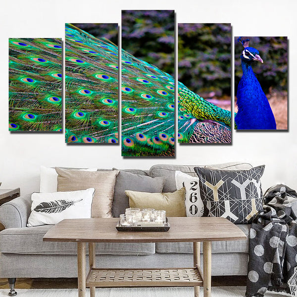 Wall Art Canvas Living Room HD Printed Pictures 5 Panel Peacock Bird Colorful Painting Modular Frame Home Decor Poster Modern