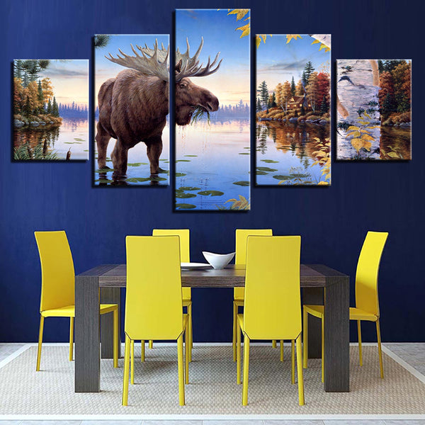 Decoration HD Printed Posters Living Room Painting 5 Panel Animal Old Elk Deer River Modern Wall Art Pictures Home Framework