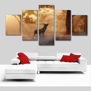 For Living Room Modern Canvas Painting Poster 5 Panel Deer Forest Dusk View Wall Art Home Decor Framework HD Printed Pictures